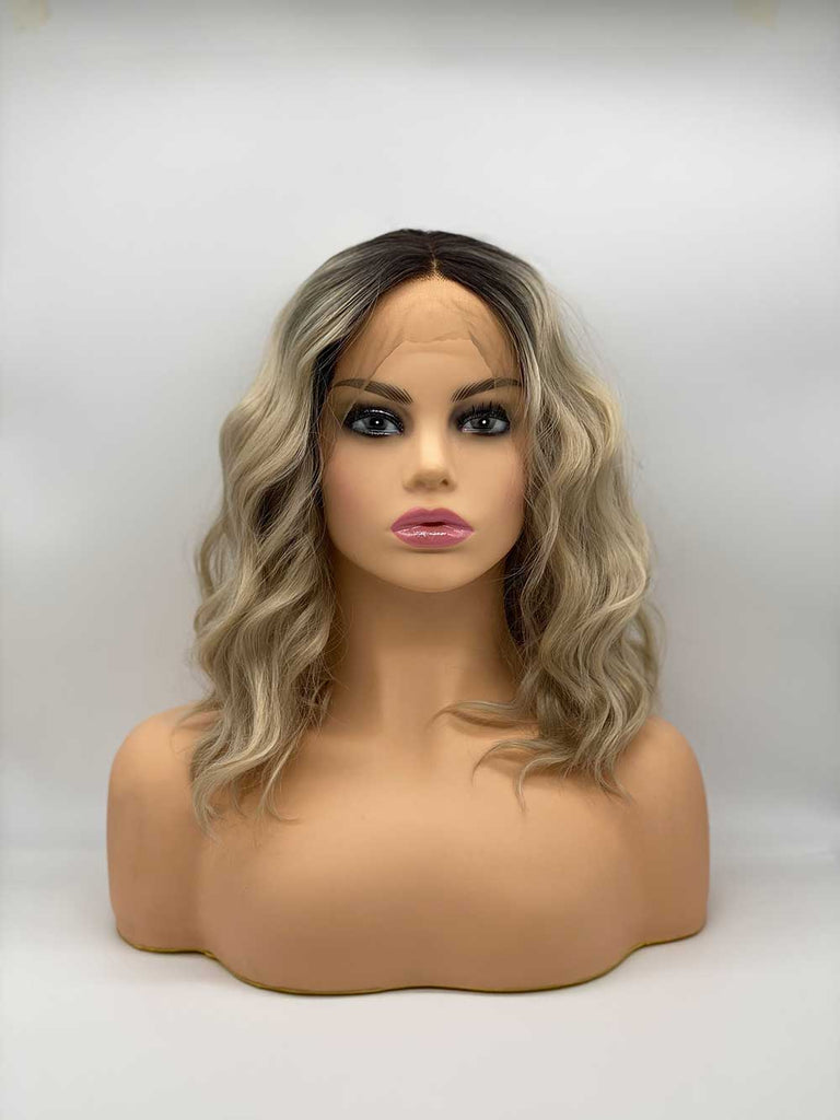 Blonde Roots Long Bob Wave - Lace Front Synthetic Wig