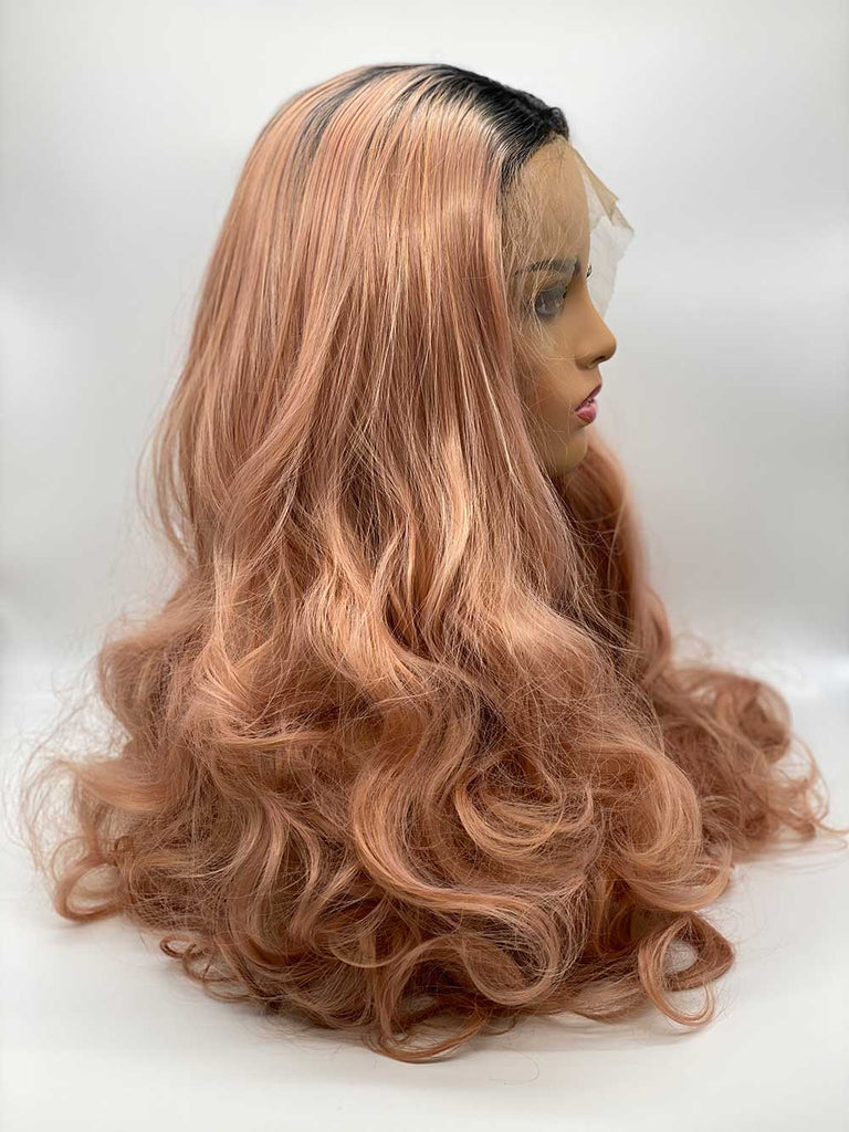 Dusky Pink Rooted Waves - Lace Front Synthetic Wig