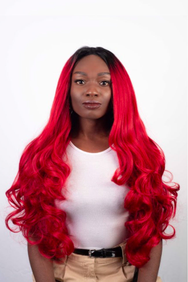 Deep Red Rooted Waves - Lace Front Synthetic Wig