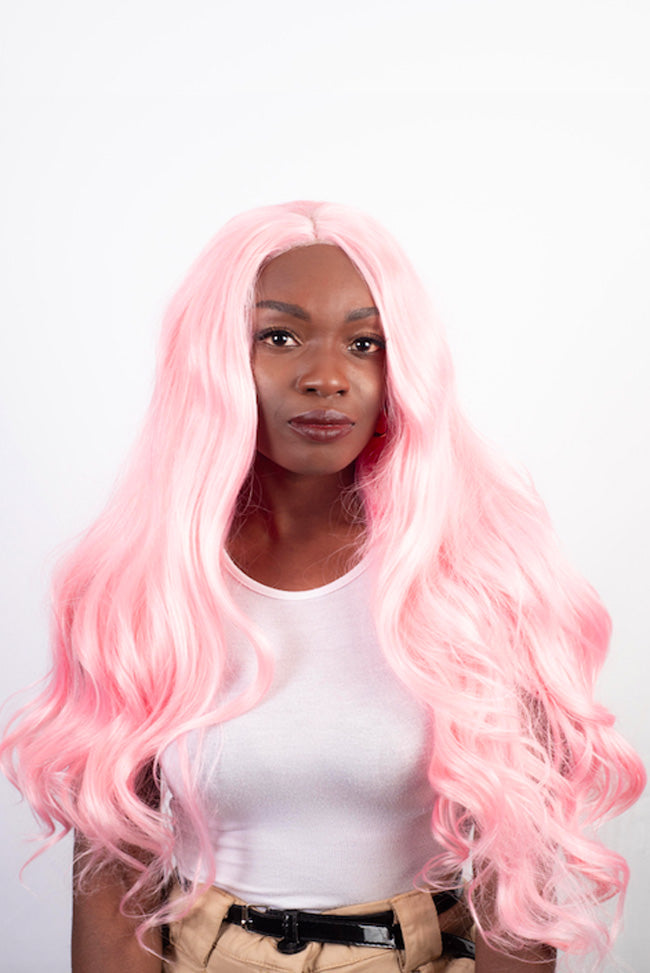 Pink Hollywood Waves - Lace Front Synthetic Wig