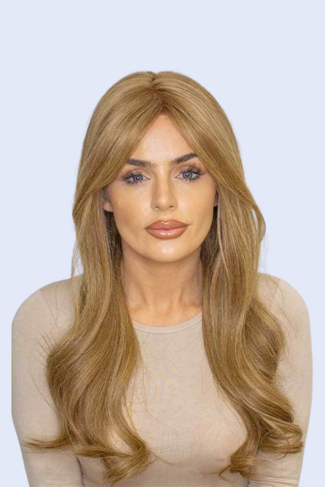 Dark Blonde with Golden Brown Highlights - 100% Human Hair Wig