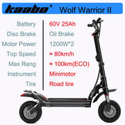 Original Kaabo Wolf Warrior II 11inch 60V 35AH LG Battery Top speed 80km/h Electric Scooter with Hydraulic shock absorption