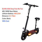 48V 500W Electric Scooter 100KM range 10inch tyre Foldable escooter