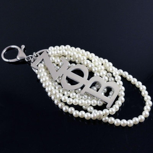 Zeta Phi Beta Greek Letter with Pearl Key Chain