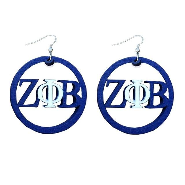 Zeta Phi Beta Natural Wood Jewelry Set