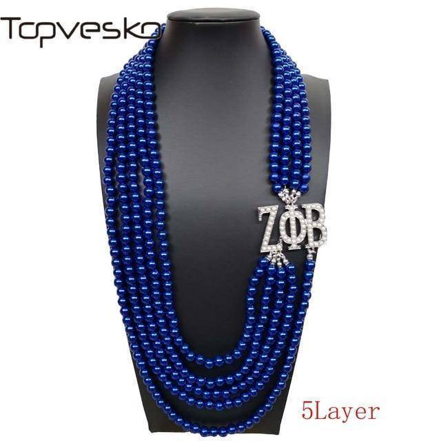 Zeta Phi Beta Multilayer Blue Pearl Necklace