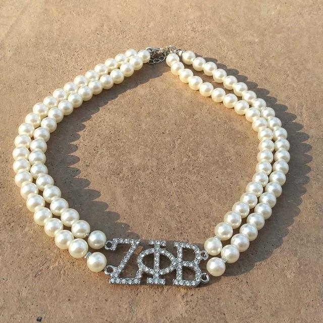 Zeta Phi Beta Double Line Pearl Necklace