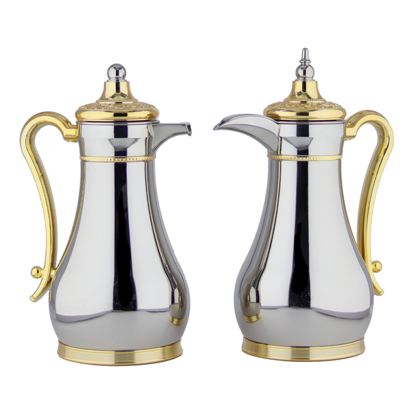 Classic Silver & Gold Vacuum Flask/Thermos (Set of 2)