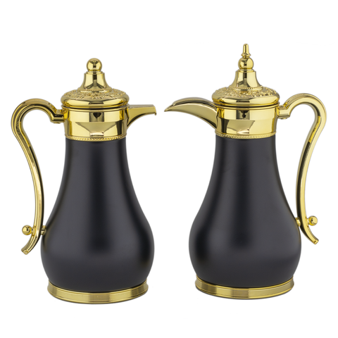 Classic Black & Gold Vacuum Flask/Thermos (Set of 2)