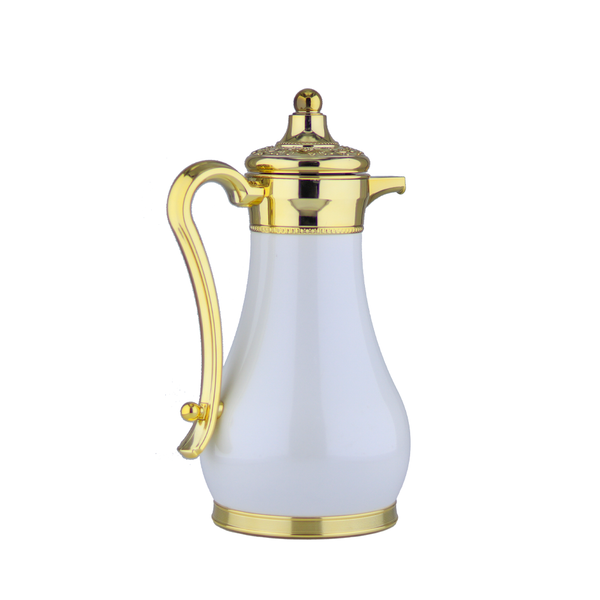 Classic White & Gold Vacuum Flask/Thermos (Set of 2)