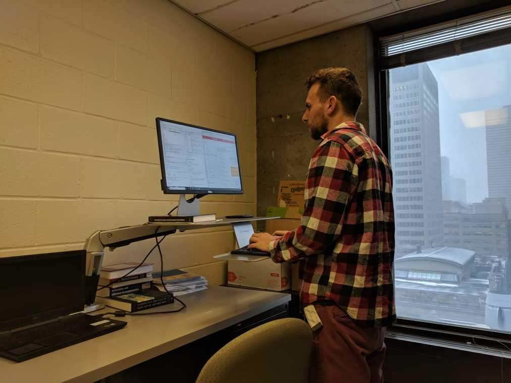 PhD Student Tries Standing Desk for the First Time