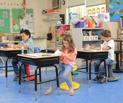 Kore Wobble Stools in classroom Fitneff Canada
