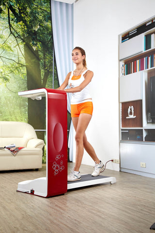 spacewalker treadmill, treadmill desk, red treadmill, working from home, active professional