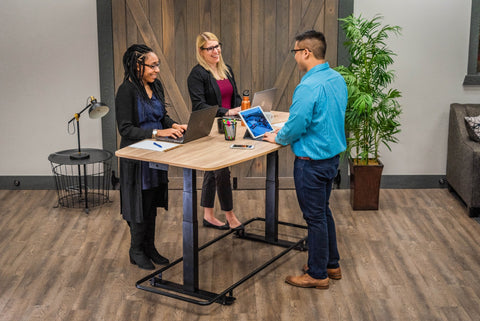 sit-stand desk, sit-stand table, conference table, standing conference table, coworking space, shared workspace, standing meeting table, standing meeting, healthy worklife