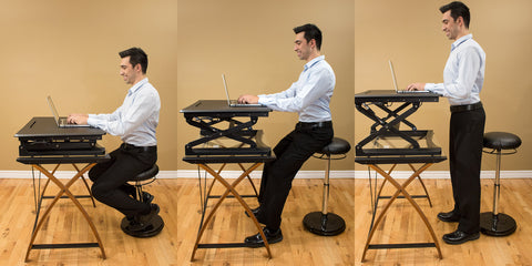sit stand desk, active chair, active stool, standing desk