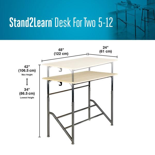 Product dimensions Stand2Learn Desk for Two 5-12 VARIDESK Education Active Goods Canada
