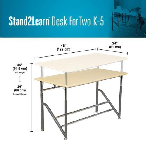 Product dimensions Stand2Learn Desk for Two K-5 VARIDESK Education Active Goods Canada