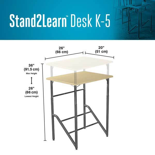 product dimensions Stand2Learn Desk K-5 VARIDESK Education Active Goods Canada
