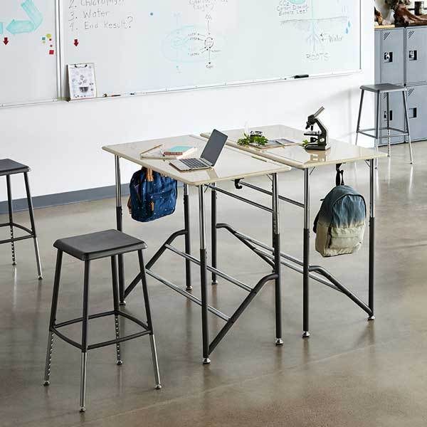 Group of two Stand2Learn Desk for Two 5-12 VARIDESK Education in classroom