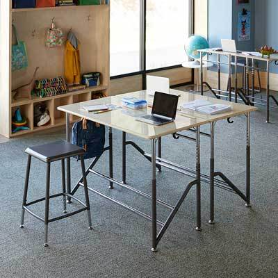 Group of two Stand2Learn Desks for Two K-5 VARIDESK Education in classroom from Active Goods Canada