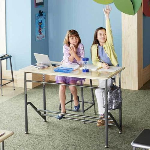 Kids using Stand2Learn Desk for Two K-5 VARIDESK Education in classroom from Active Goods Canada