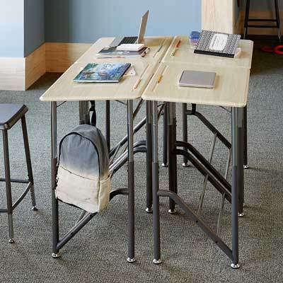 Four Stand2Learn Desks K-5 VARIDESK Education in a group