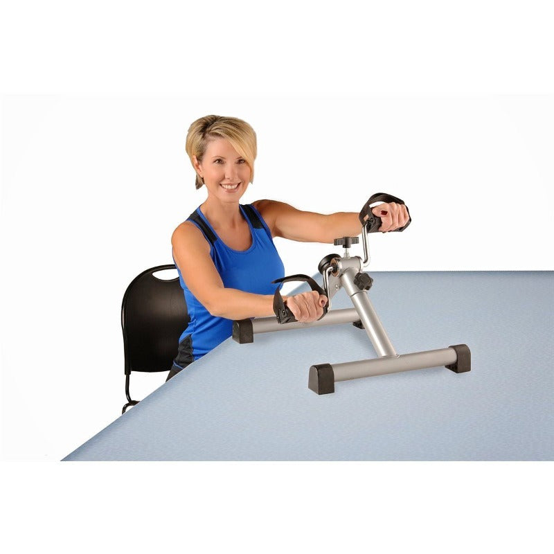 Drexel Stamina Instride Folding Desk Cycle by Fitneff Canada using with hands