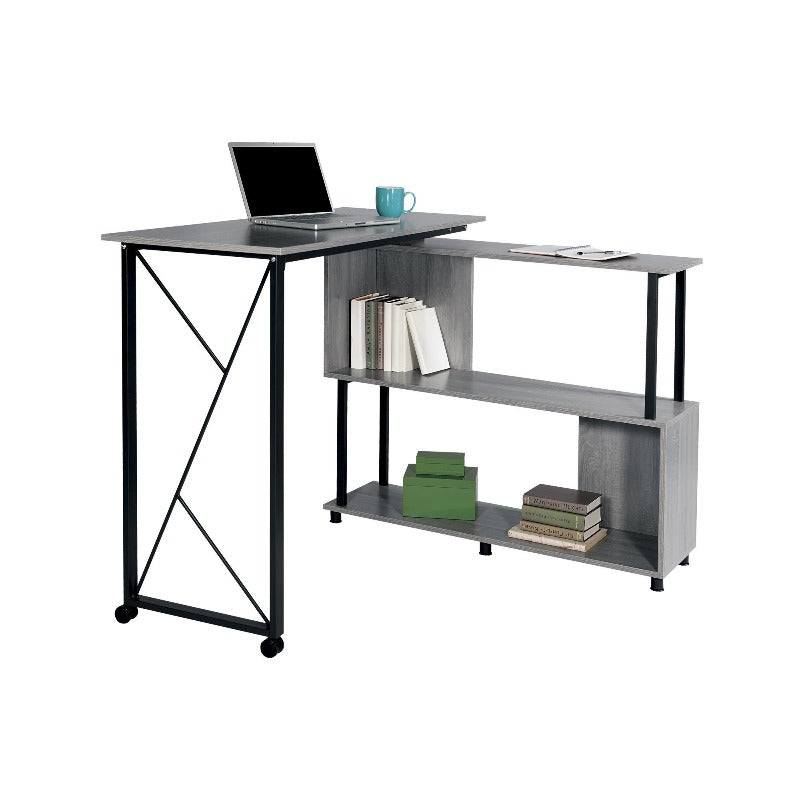 Safco Mood™ Standing Height Desk with Rotating Work Surface Model # 1904GR Open View from Active Goods Canada