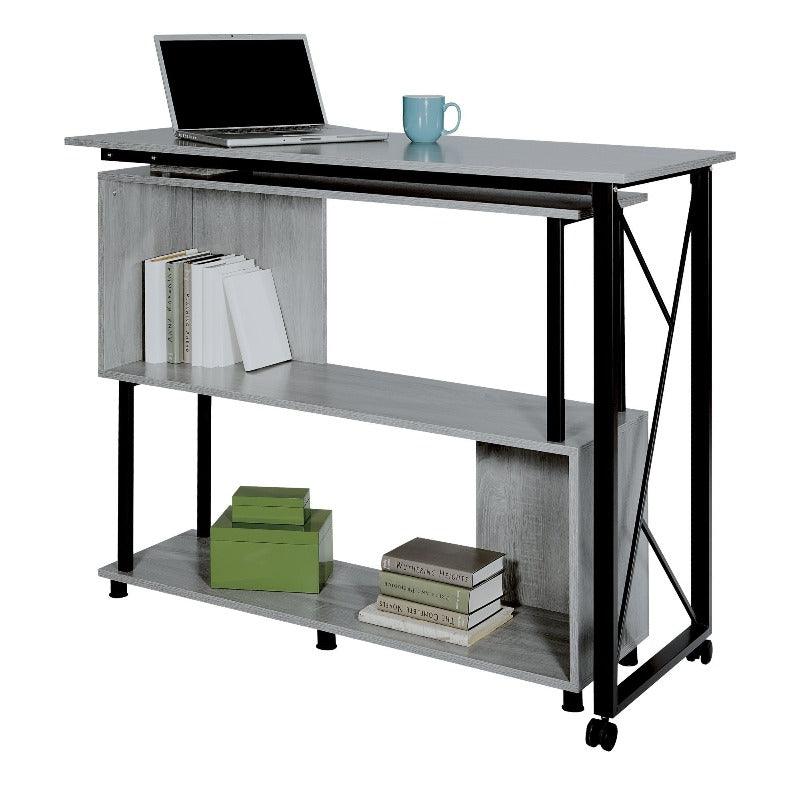 Safco Mood™ Standing Height Desk with Rotating Work Surface Model # 1904GR Closed View from Active Goods Canada