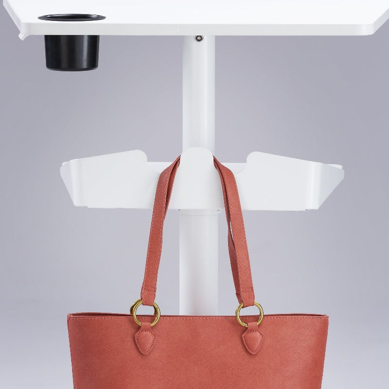 Safco Vum™ Mobile Workstation  by Active Goods Canada White, bag hanging