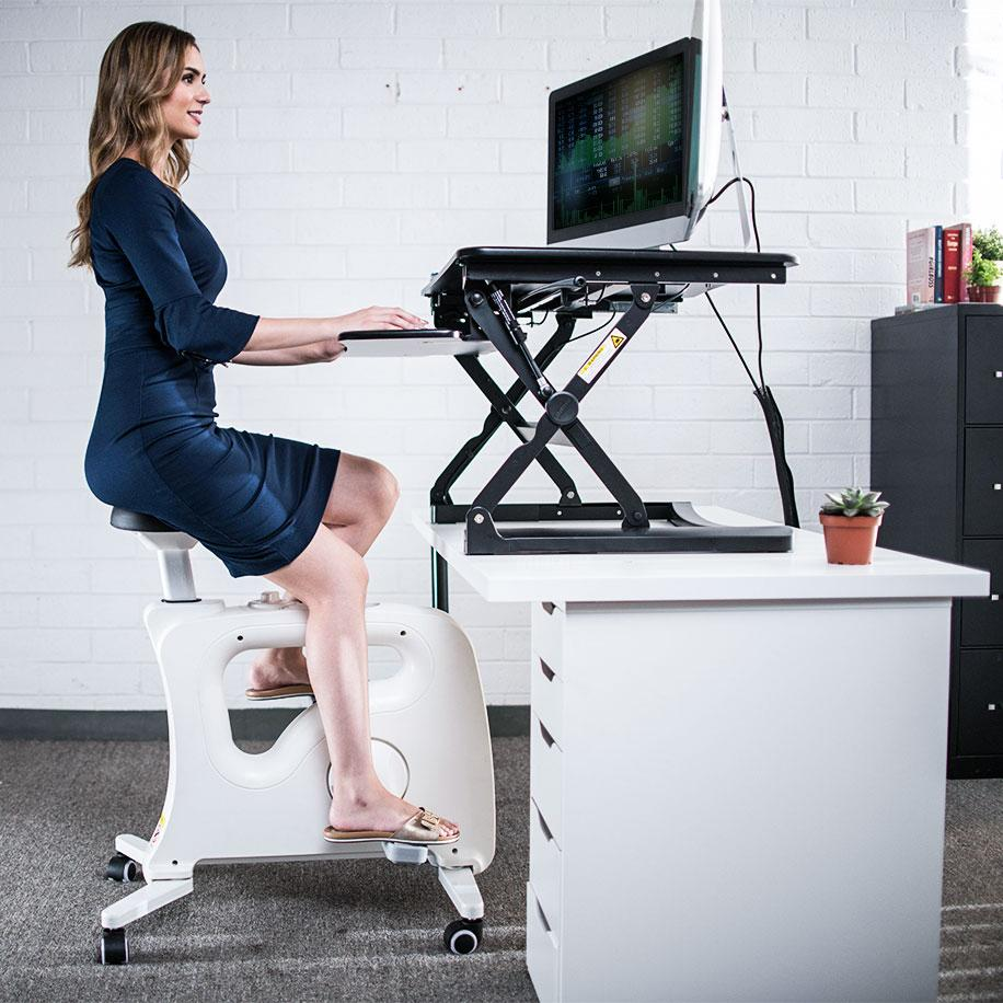 Using FlexiSpot V9U Under-Desk Bike with Standing Desk from Active Goods Canada
