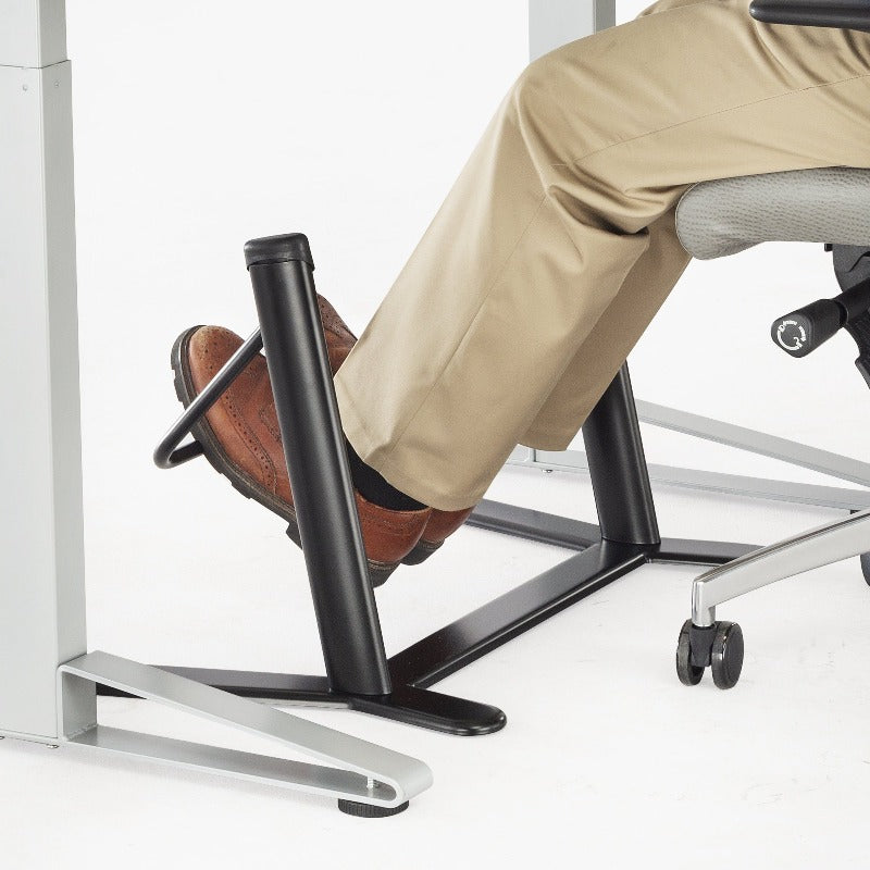 Safco Dynamic Footrest with Swing Bar Model #2134BL Black Side View Sitting from Active Goods Canada