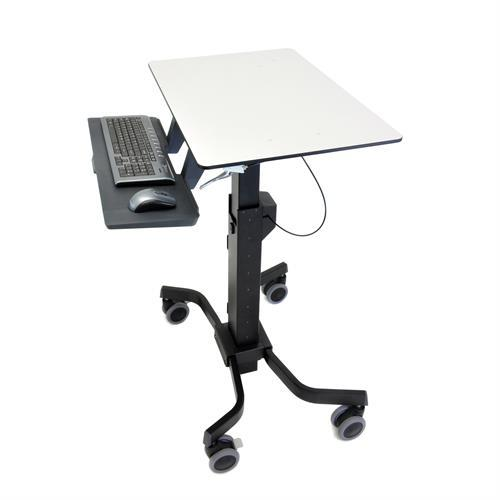Mobile laptop cart with mouse and computer. Fitneff Canada