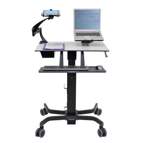 Mobile digital desk with laptop, iPad and keyboard from Active Goods Canada