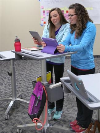 Ergotron LearnFit® Sit-Stand Desk (Tall)  from Active Goods Canada. in use with accessories