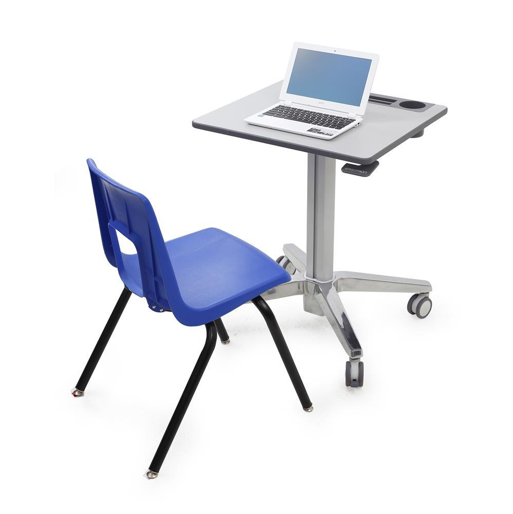 Ergotron LearnFit® adjustable, mobile Sit-Stand Desk from Fitneff, in sitting position