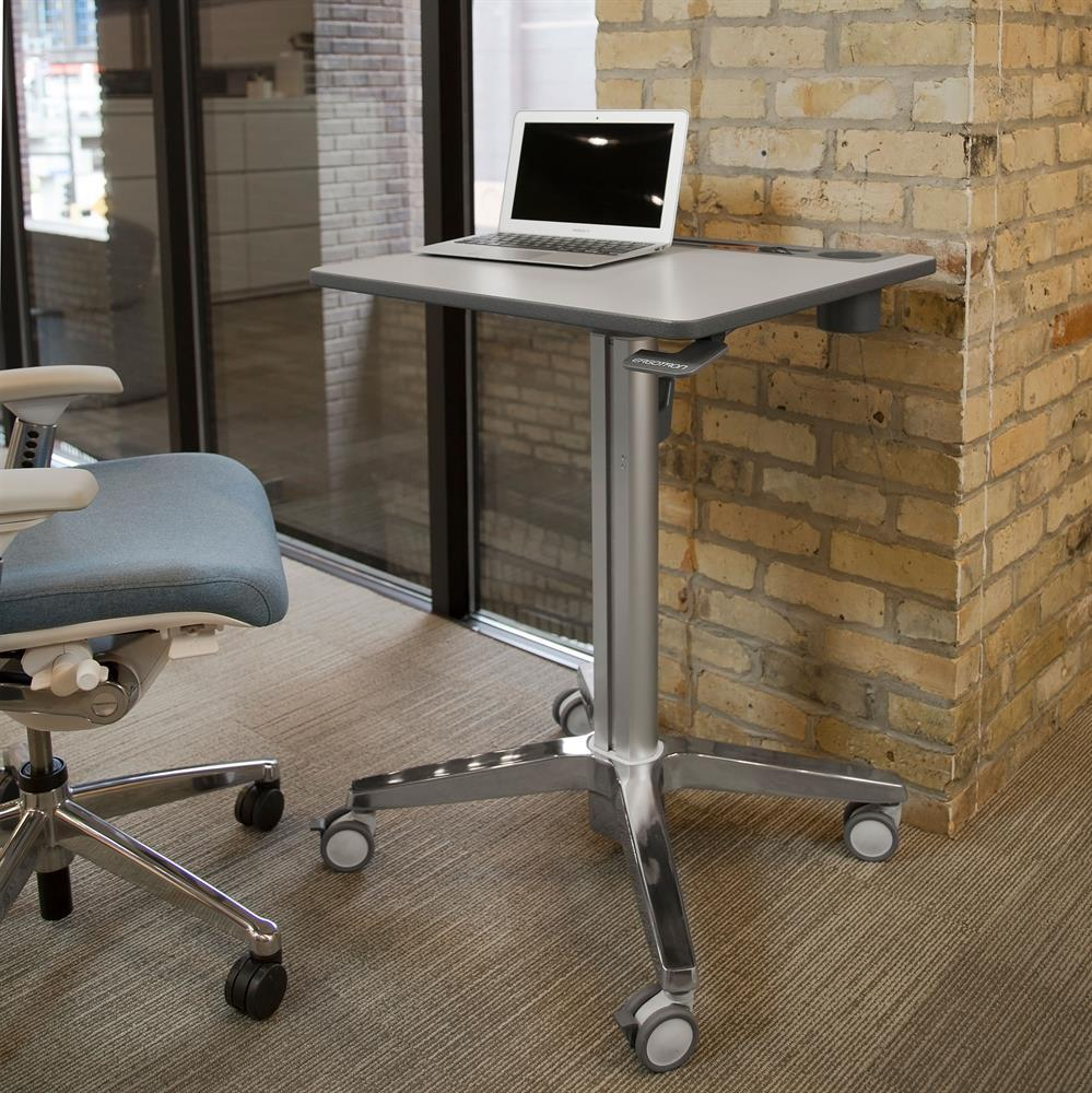 Ergotron LearnFit® adjustable, mobile Sit-Stand Desk  from Active Goods Canada in sitting position