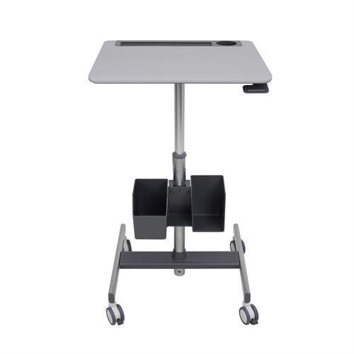 Storage bin on Learnfit sit-stand desk from Active Goods Canada