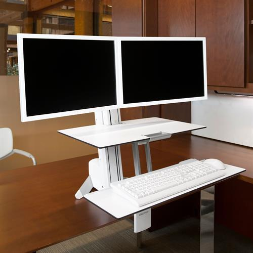 Ergotron Dual WorkFit-S Sit-Stand Desk from Active Goods Canada.