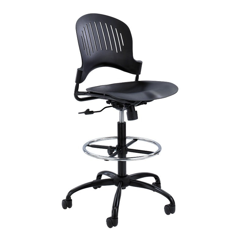 Safco Zippi™ Plastic Extended-Height Chair Model # 3386BL Side View Black