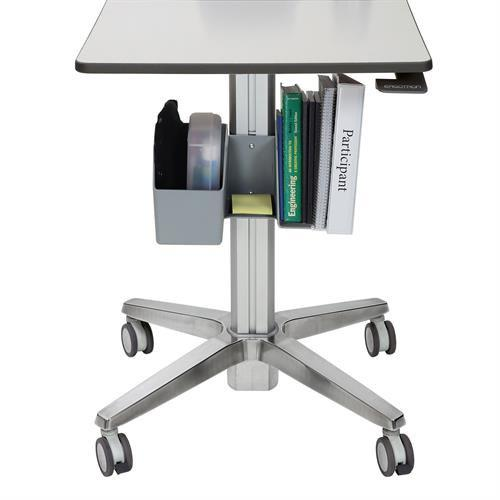 Storage bin on Learnfit sit-stand desk. Fitneff Canada