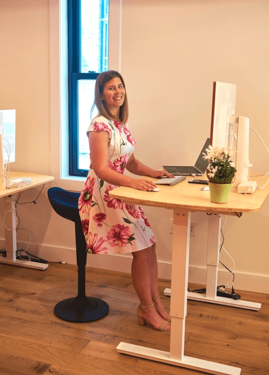 CorePerch Active Stool perching at office standing desk by Active Goods Canada