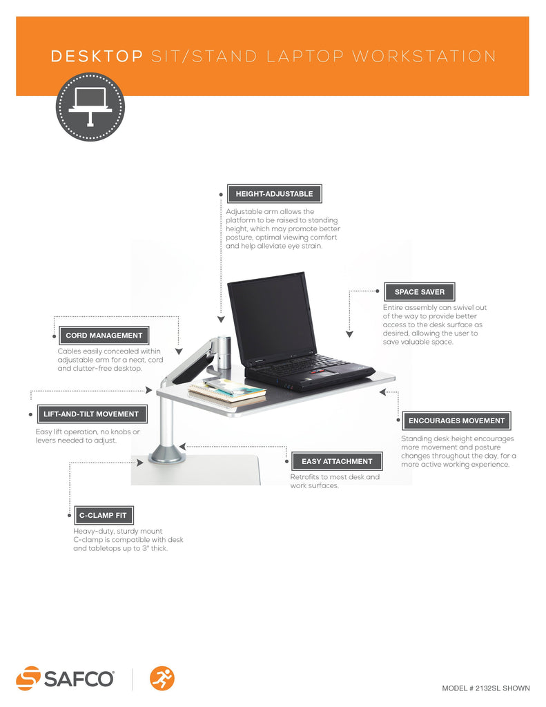 Safco Desktop Sit-Stand Laptop Workstation from Active Goods Canada