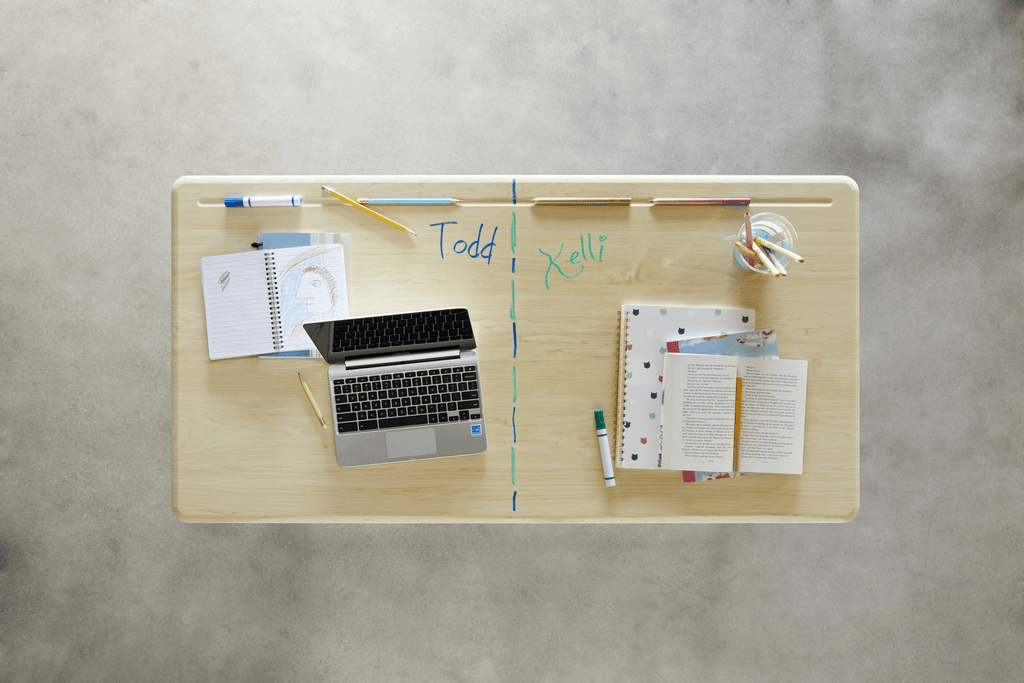 Dry-erase surface for Stand2Learn Desk for Two K-5 VARIDESK Education Fitneff Canada