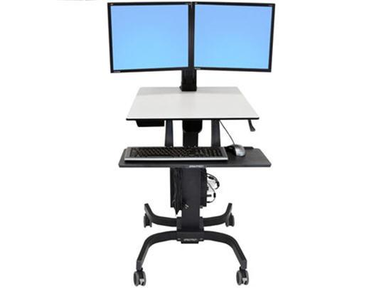 Ergotron Sit-Stand Desk Dual Monitor WorkFit-CErgotron WorkFit-A Sit-Stand Desktop Workstation with suspended keyboard from Active Goods Canada