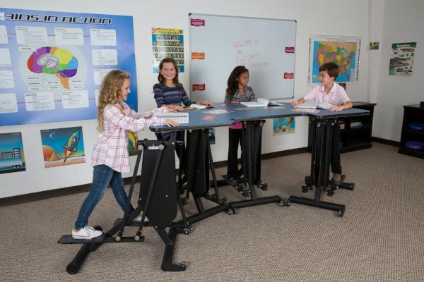 Four person KidsFit Strider Desk from Active Goods Canada- Movement in classroom