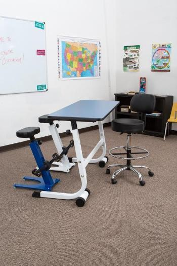 KidsFit Pedal Stool matched with Standing desk in classroom