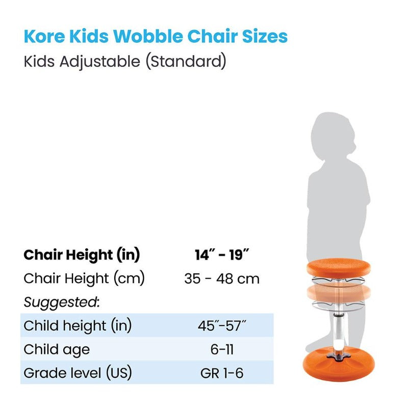 Kore Kids Adjustable Standard Wobble Chair for Active Sitting measurements from Active Goods Canada