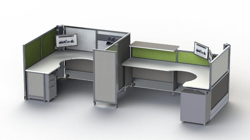 Dual SwiftSpace Solo Workstation will wall panels Fitneff Canada