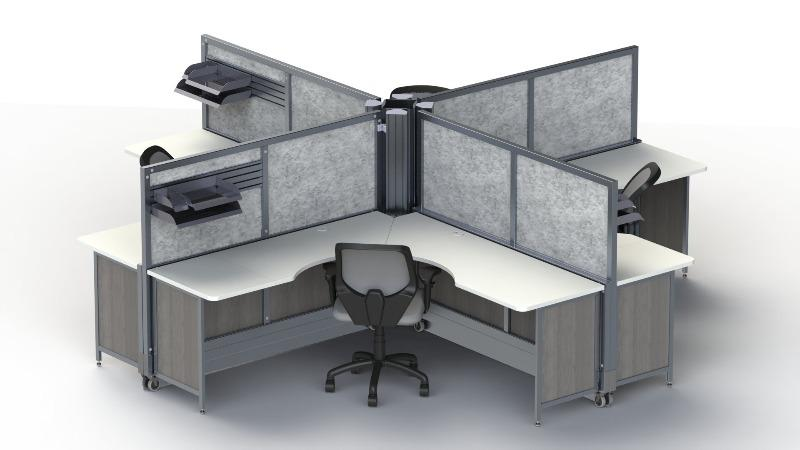 Four SwiftSpace Solo Workstations desk hub Fitneff Canada